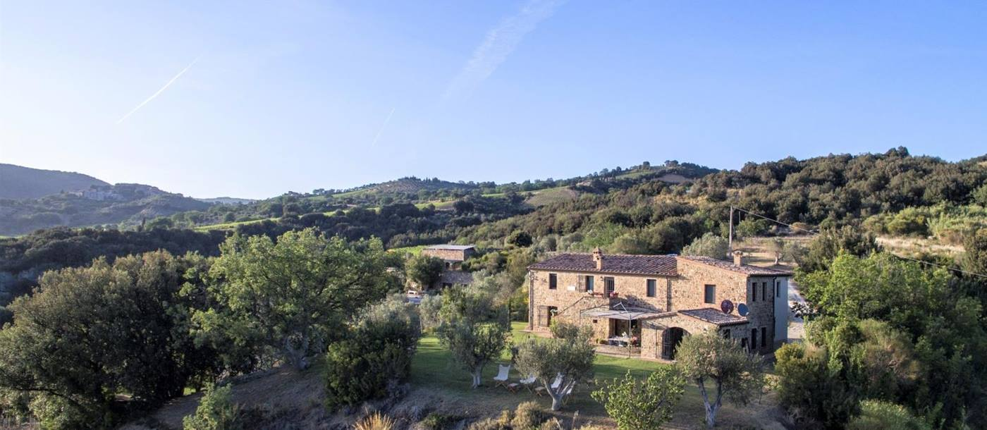 Aerial view of villa and surrounding countryside at Villa dell'Abate in Tuscany, Italy