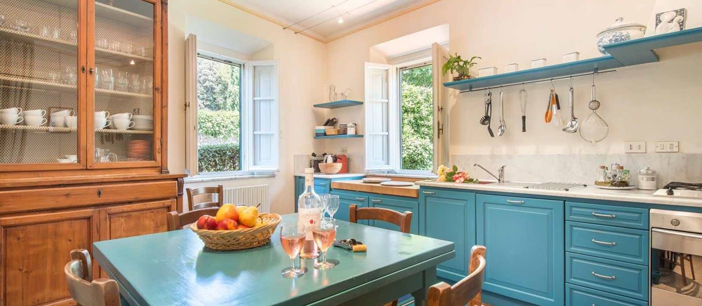 The azure blue kitchen in Villa La Guardia, Tuscany