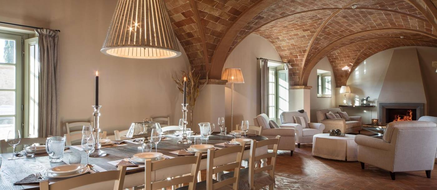 Dining room with brick arched ceiling at Villa San Vivaldo, Tuscany