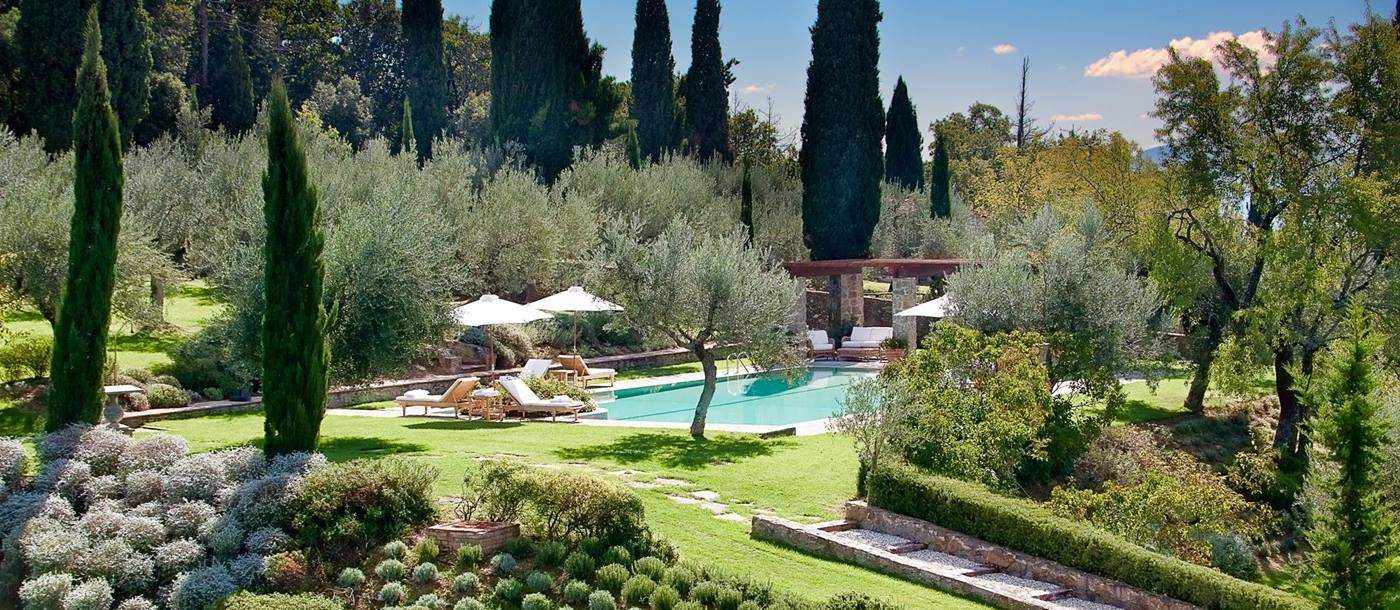 Pool and garden of Convento dei Cappuccini, Umbria
