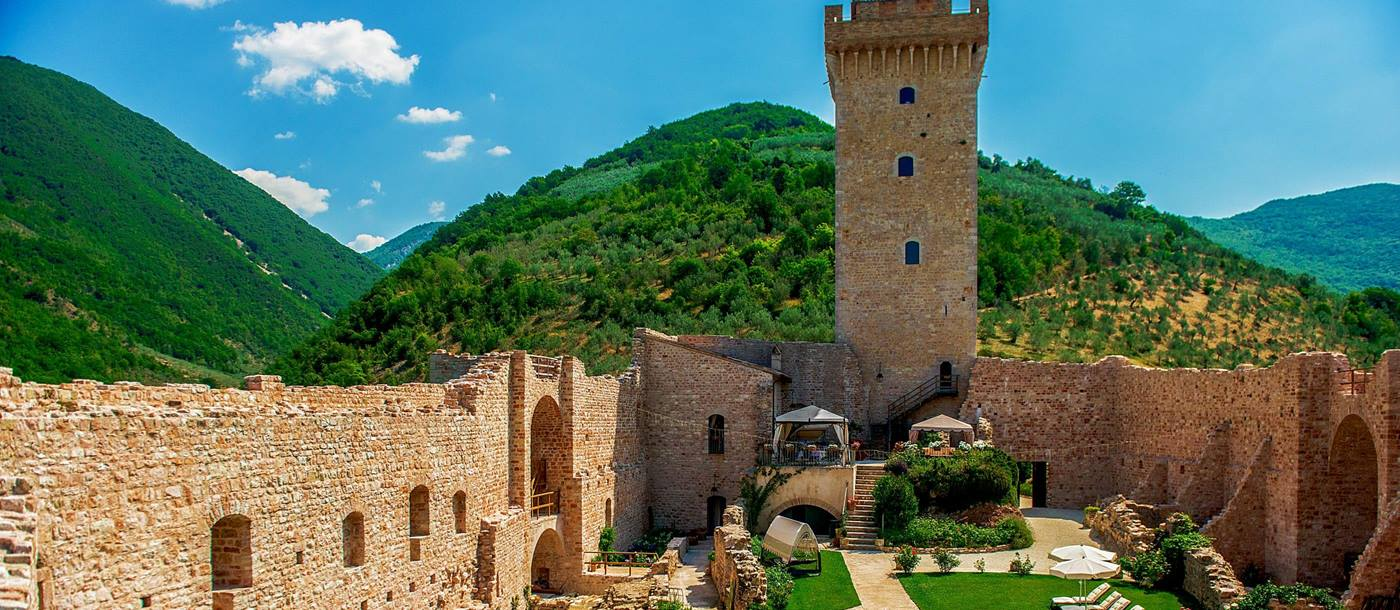 Gardens and castle tower of La Rocca, Umbria