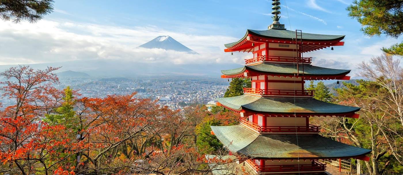 The five storied Chureito Pagoda on the mountainside overlooking Fujiyoshida City and Mount Fuji