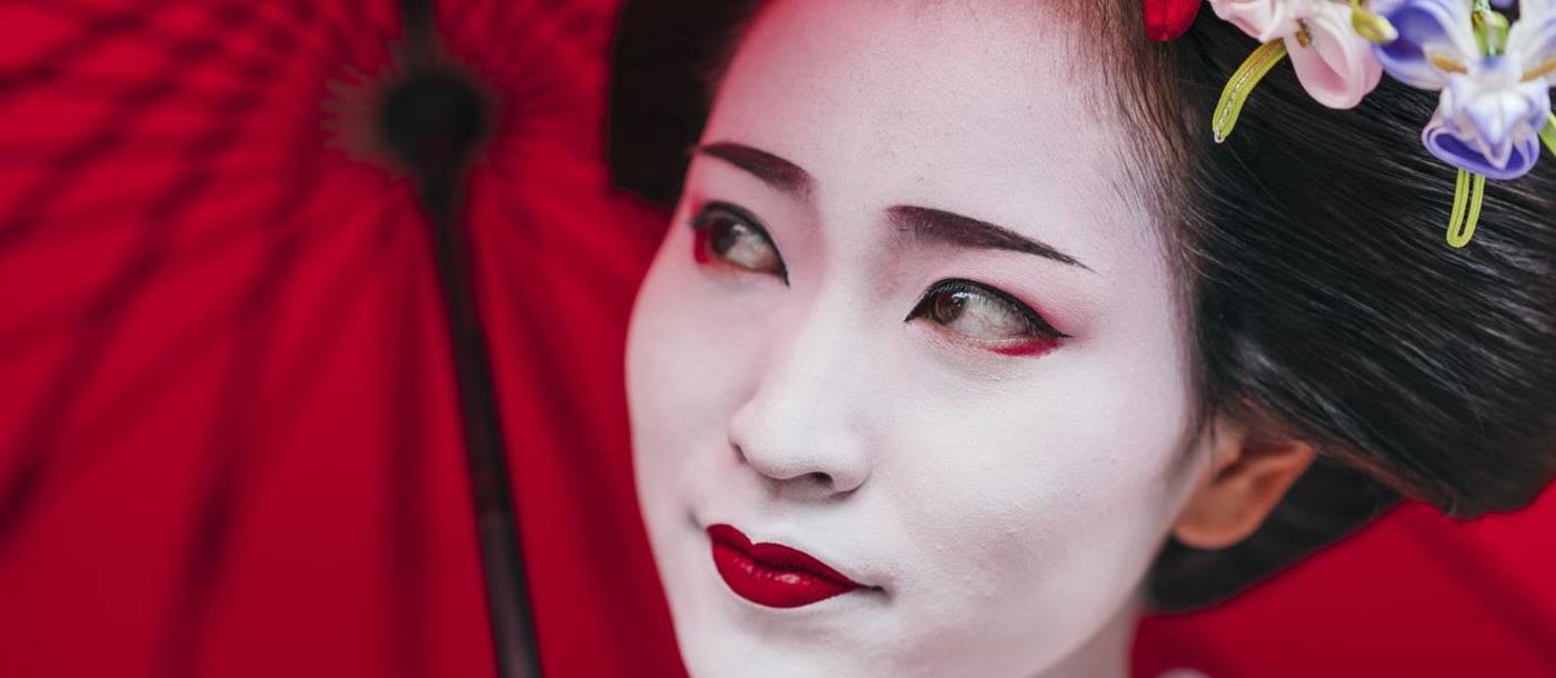 The face of a beautiful geisha in Japan
