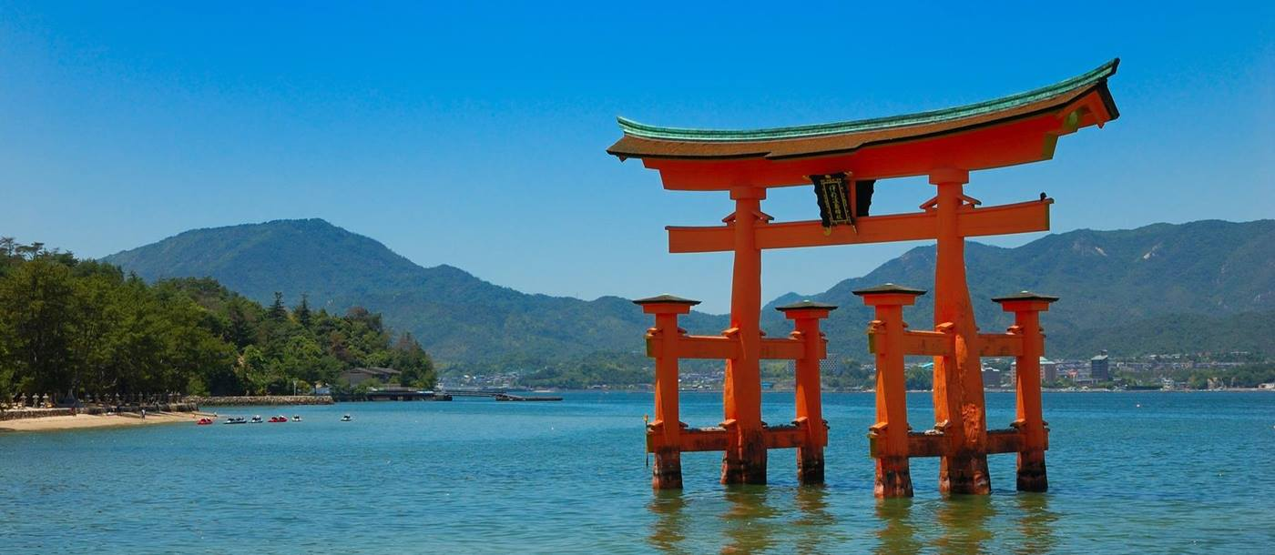 The floating torii gate at Itsukushima Shrine in Japan
