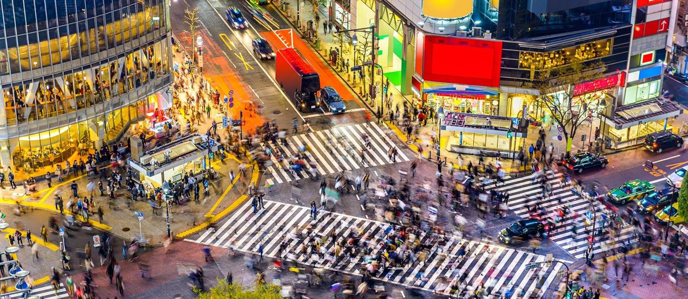 Shibuya Crossing in Tokyo,  Japan, rumoured to be the busiest intersection in the world