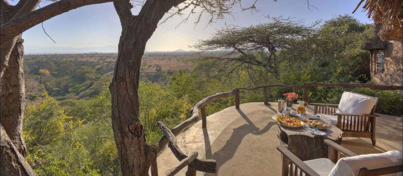 Breakfast on the verandah at Lewa Wilderness Camp in Kenya