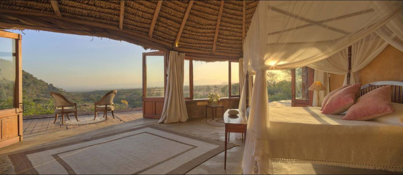 Interior of bedroom at Lewa Wilderness Camp in Kenya