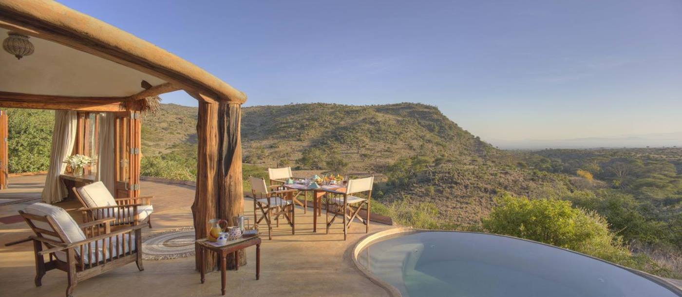 View from pool at Lewa Wilderness Camp in Kenya