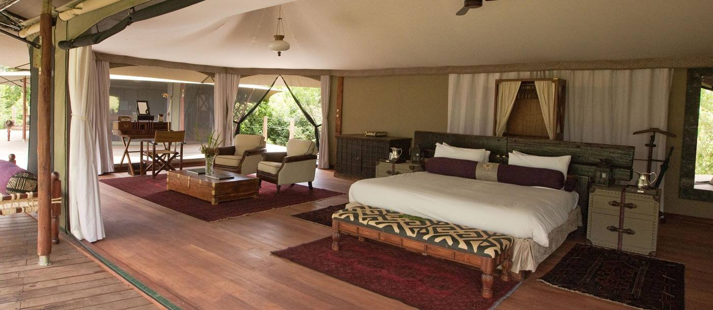 Double bedroom at Mara Plains Camp, Kenya