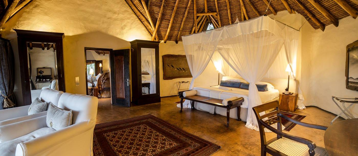 interior of double bedroom in Ol Donyo Lodge, Kenya