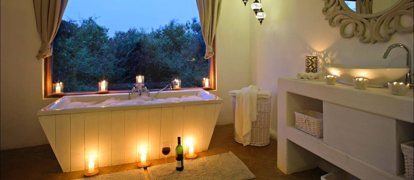Candlelit bathtub in Cottar's Bush Villa in the Maasai Mara Kenya