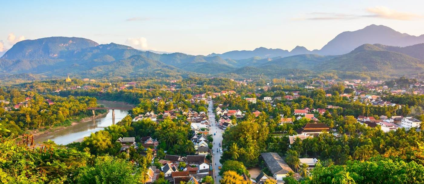 Aerial view of Luang Prabang and the mekong