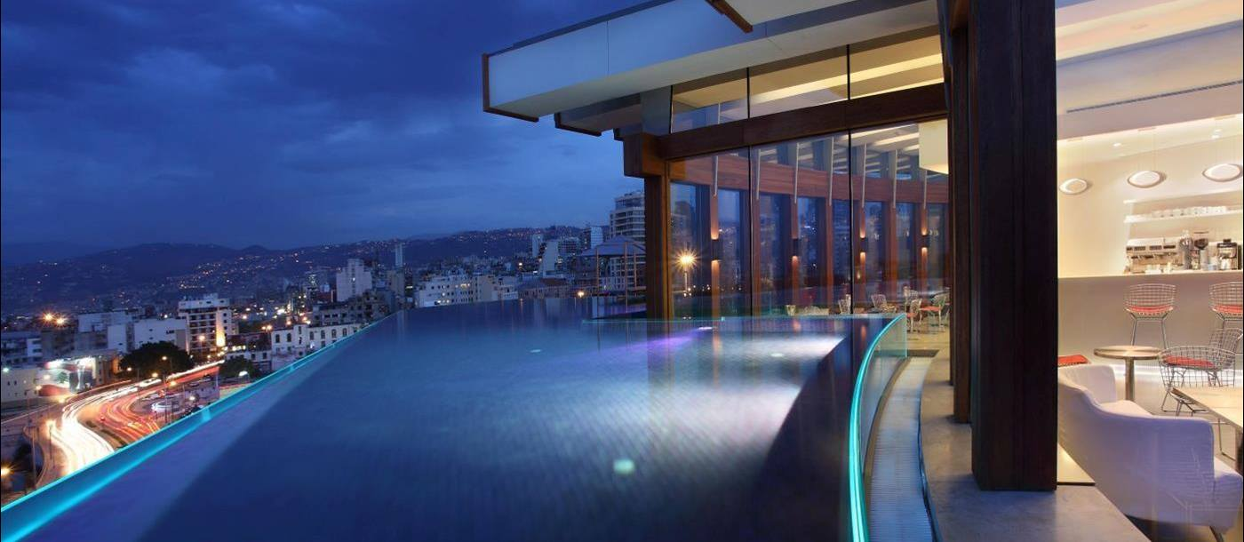 Rooftop pool at Le Gray Hotel in Beirut, Lebanon