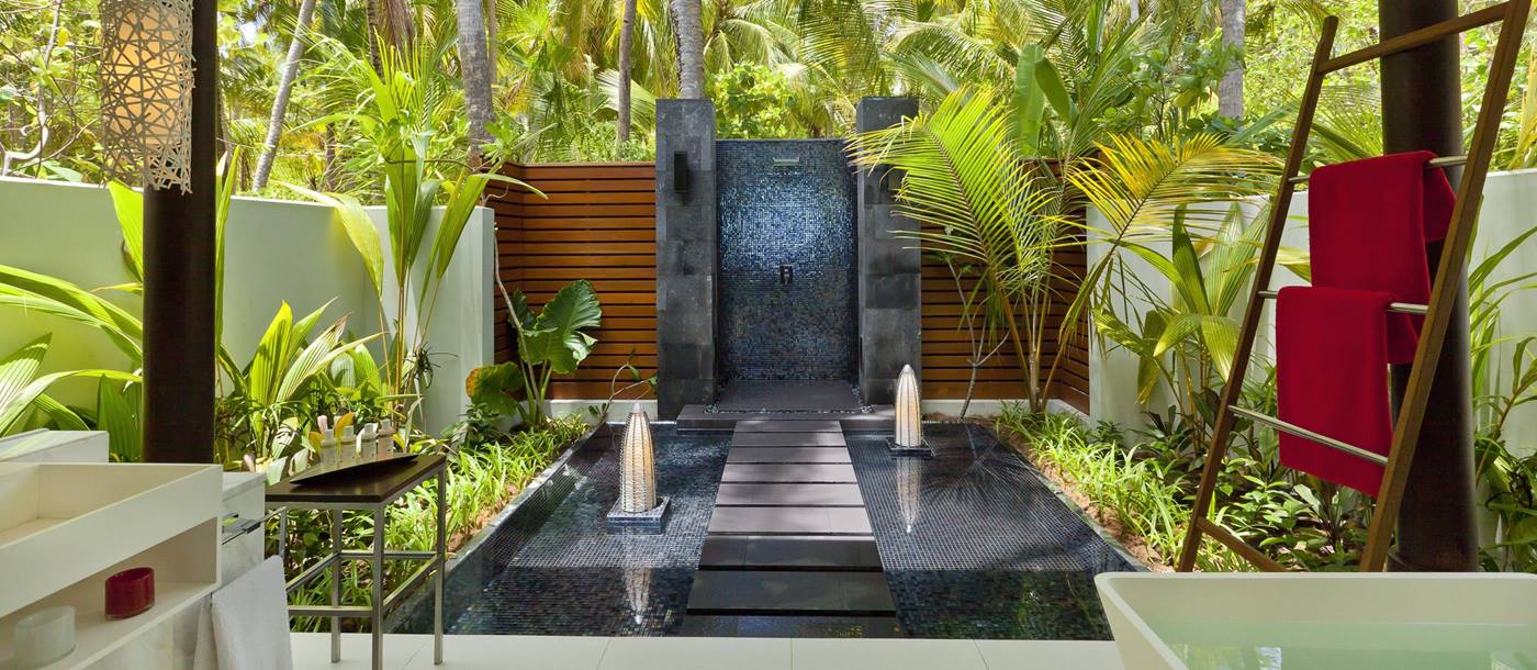 Interiors of a beach studio at Niyama, Maldives