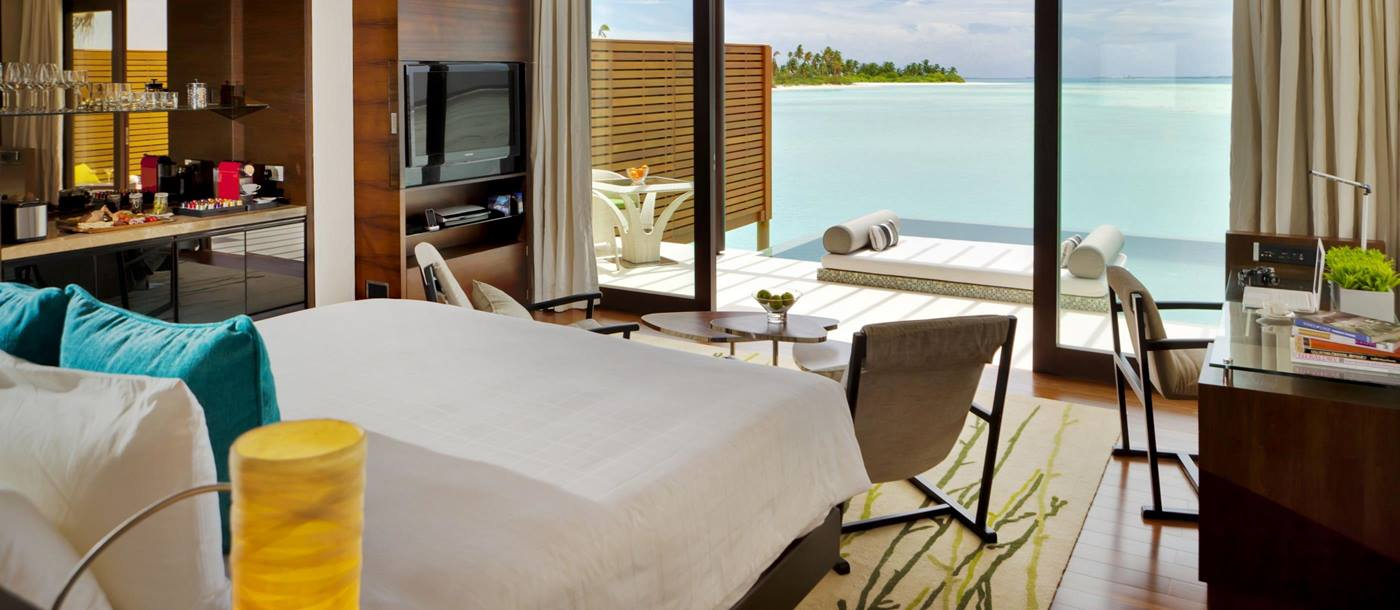 Double bedroom of a Water Studio at Niyama, Maldives