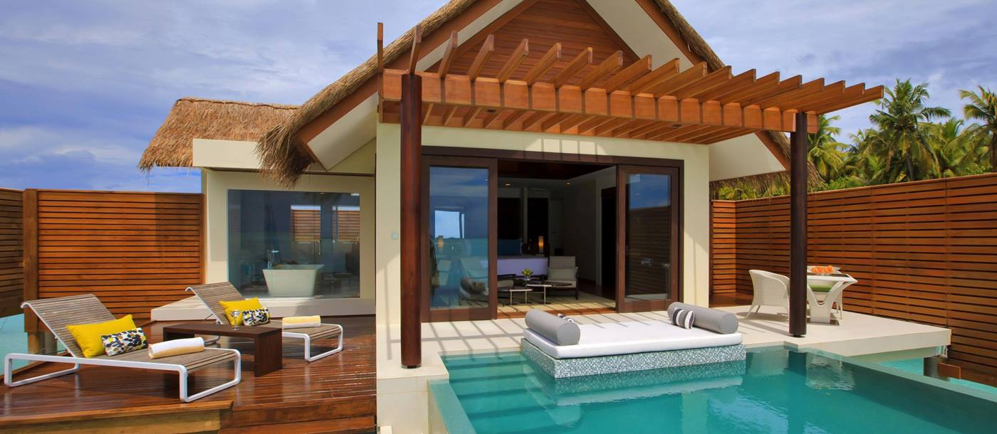 Exterior and swimming pool of a Water Studio at Niyama, Maldives