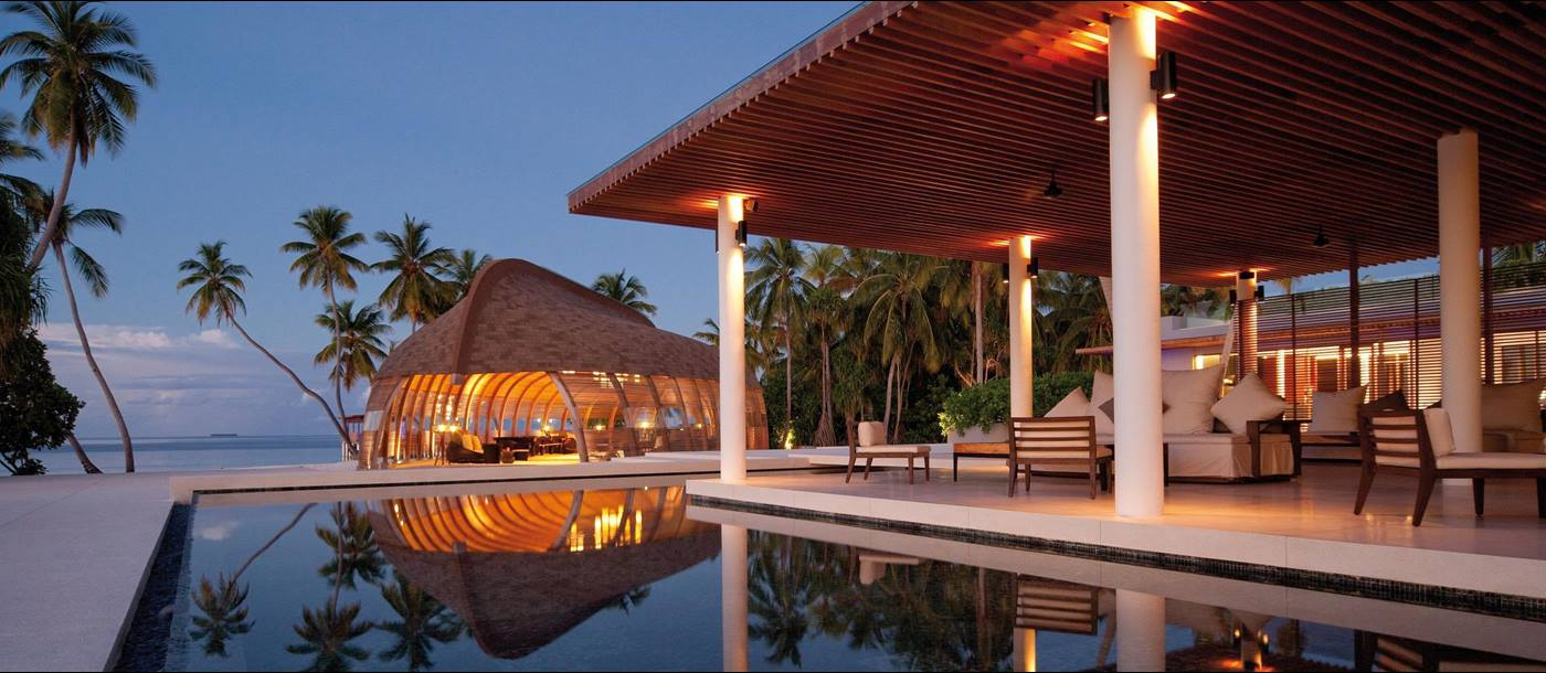 The pool area at Park Hyatt Maldives