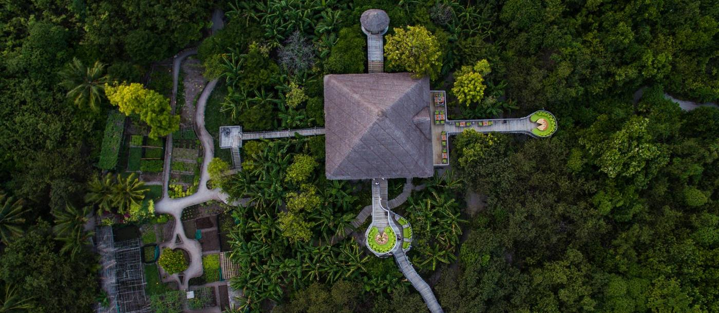 Aerial shot of the garden of Soneva Fushi, Maldives