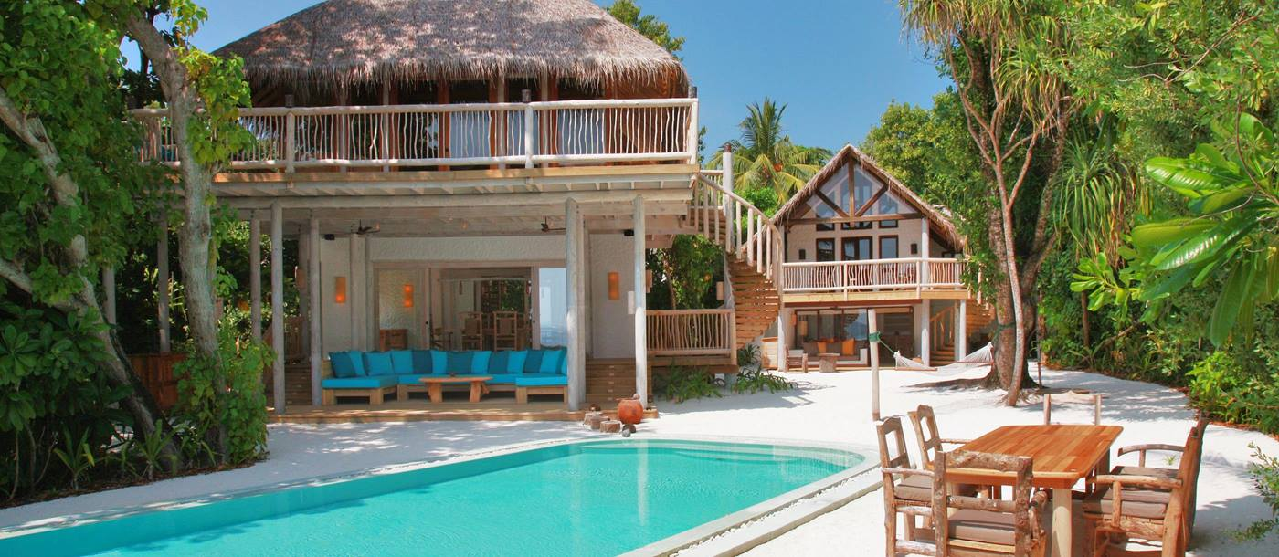 A suite with swimming pool at Soneva Fushi, Maldives