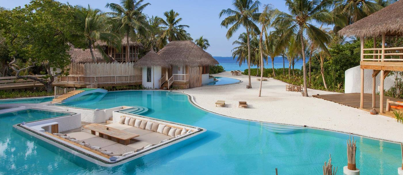 Main pool of Soneva Fushi, Maldives
