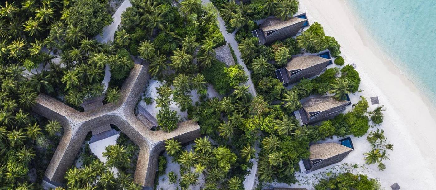 Aerial shot of Vommuli house, St Regis Vommuli, Maldives