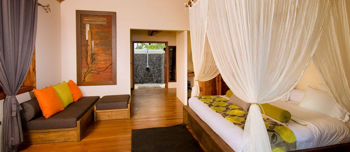 Bedroom of a suite at Lakaz Chamarel, Mauritius