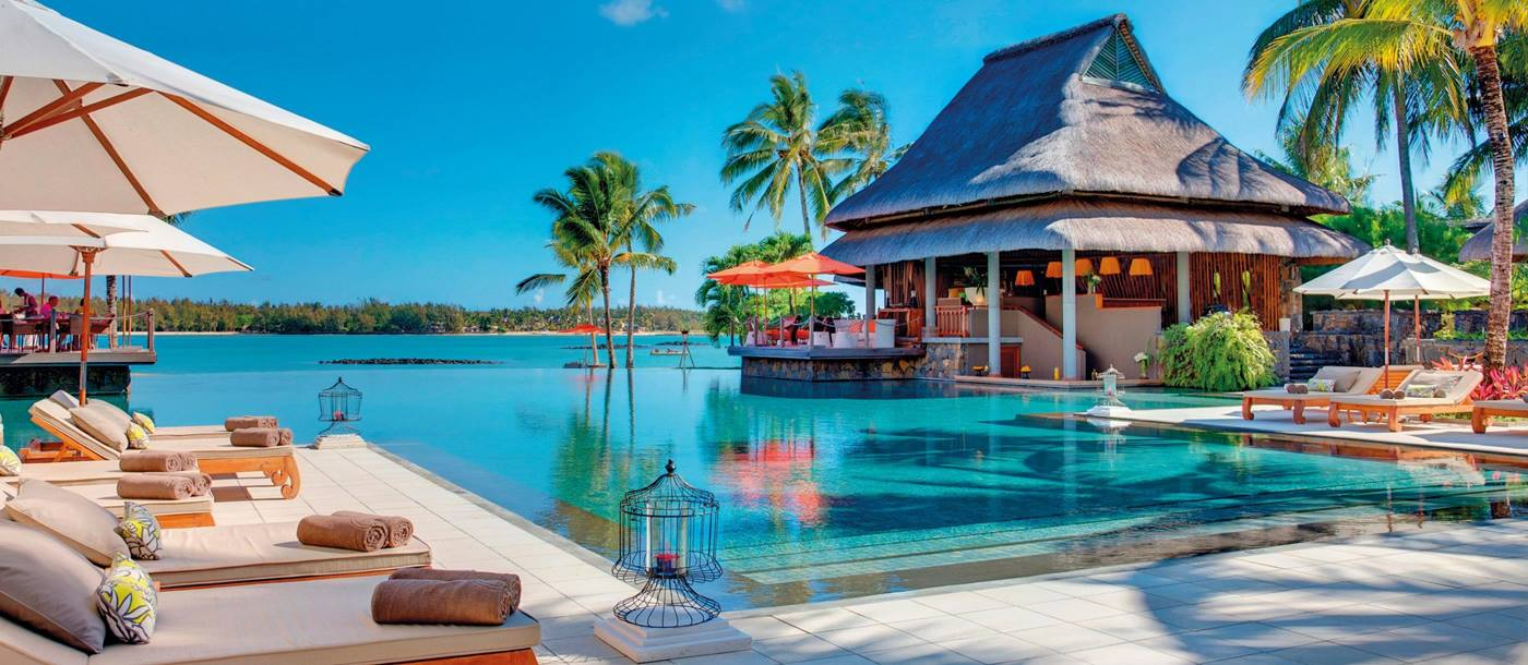The main swimming pool of Le Prince Maurice, Mauritius