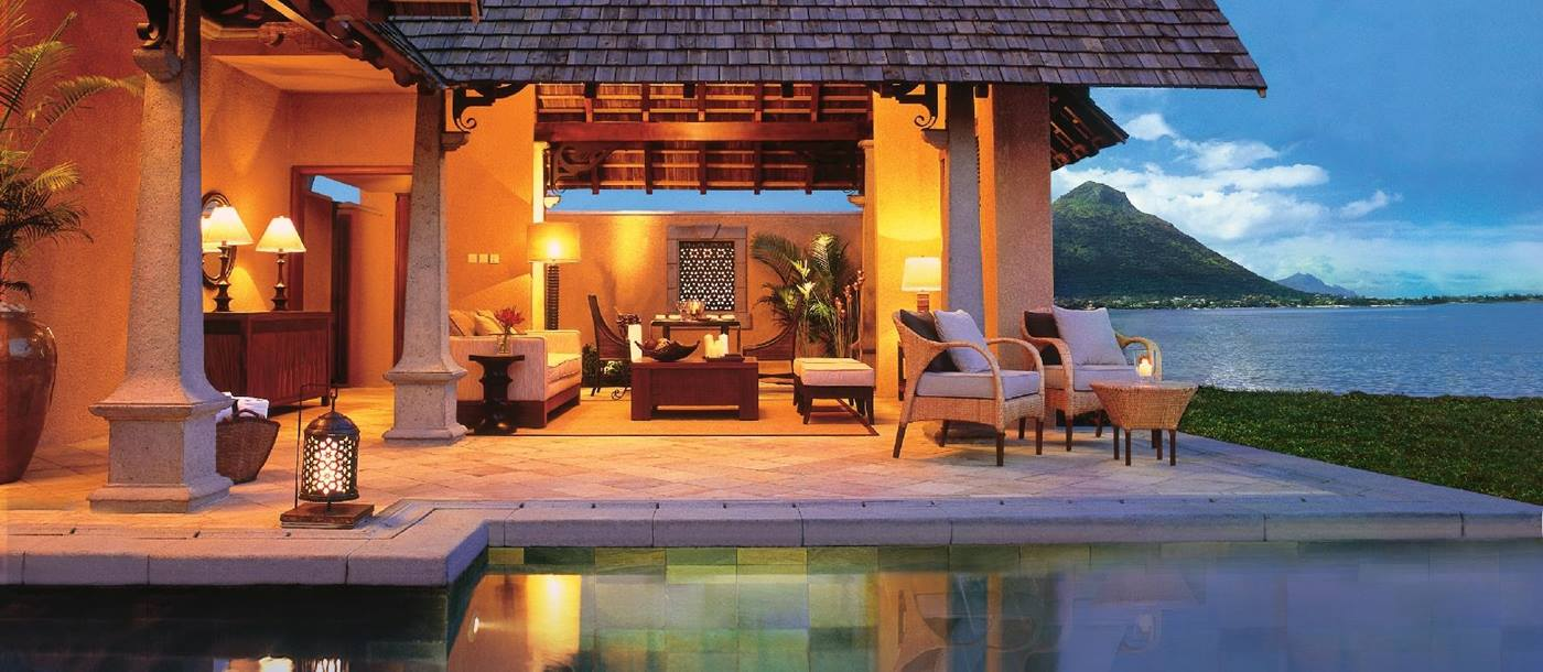 beachfront luxury suite villa with swimming pool at Maradiva Resort, mauritius
