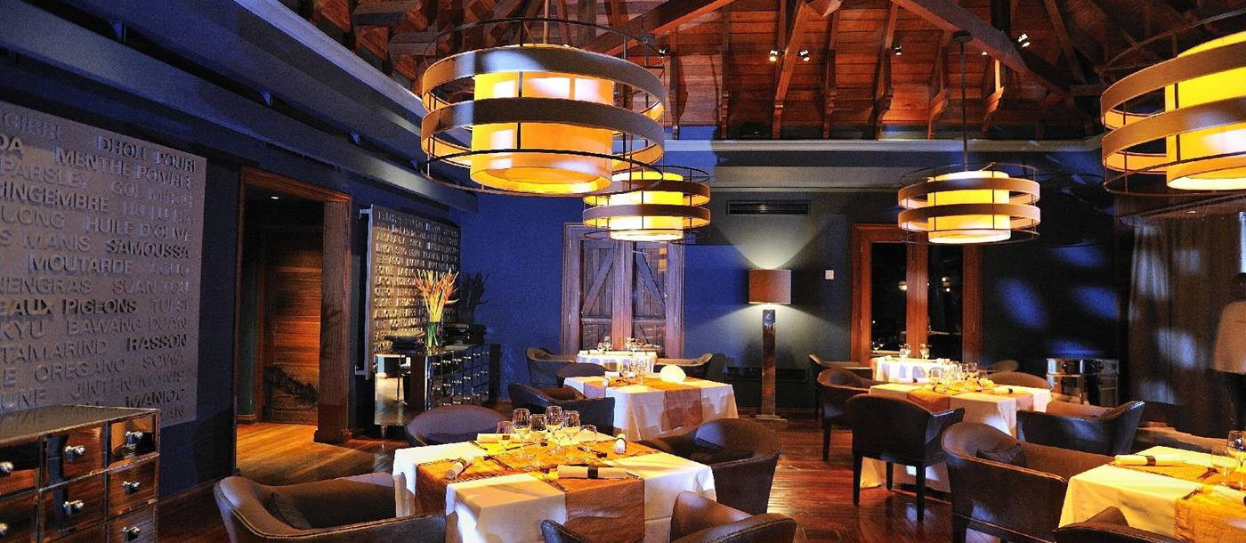 The Cilantro dining room of Maradiva Resort, mauritius