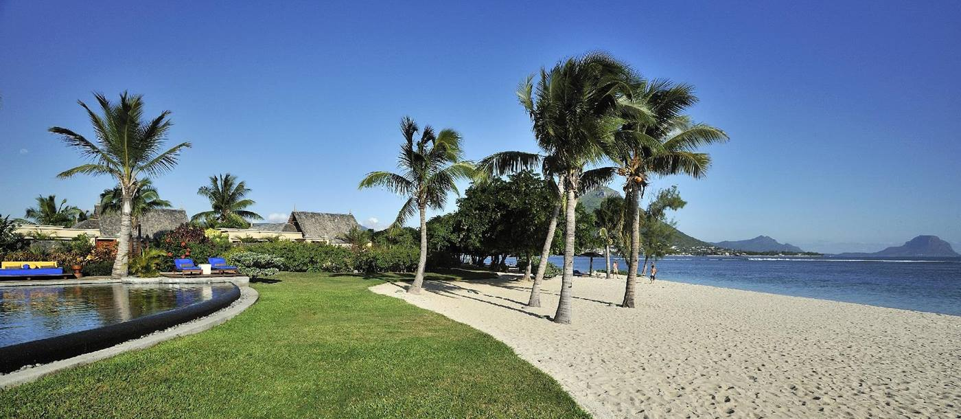 The pool, beach and sea at Maradiva Resort, mauritius
