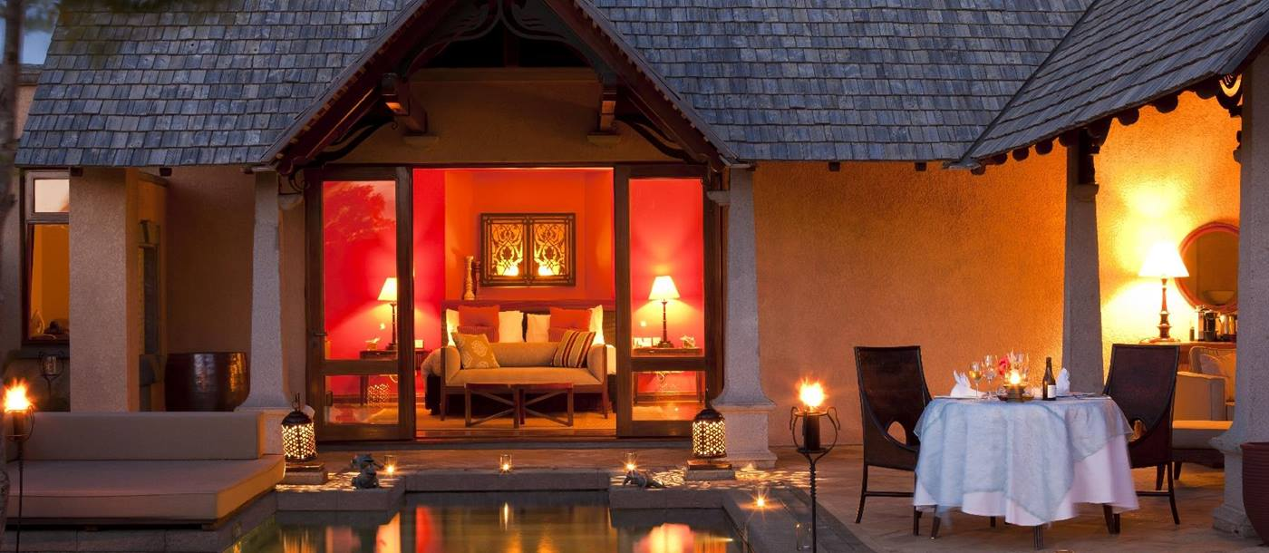 Exterior of a suite pool villa at Maradiva Resort, mauritius