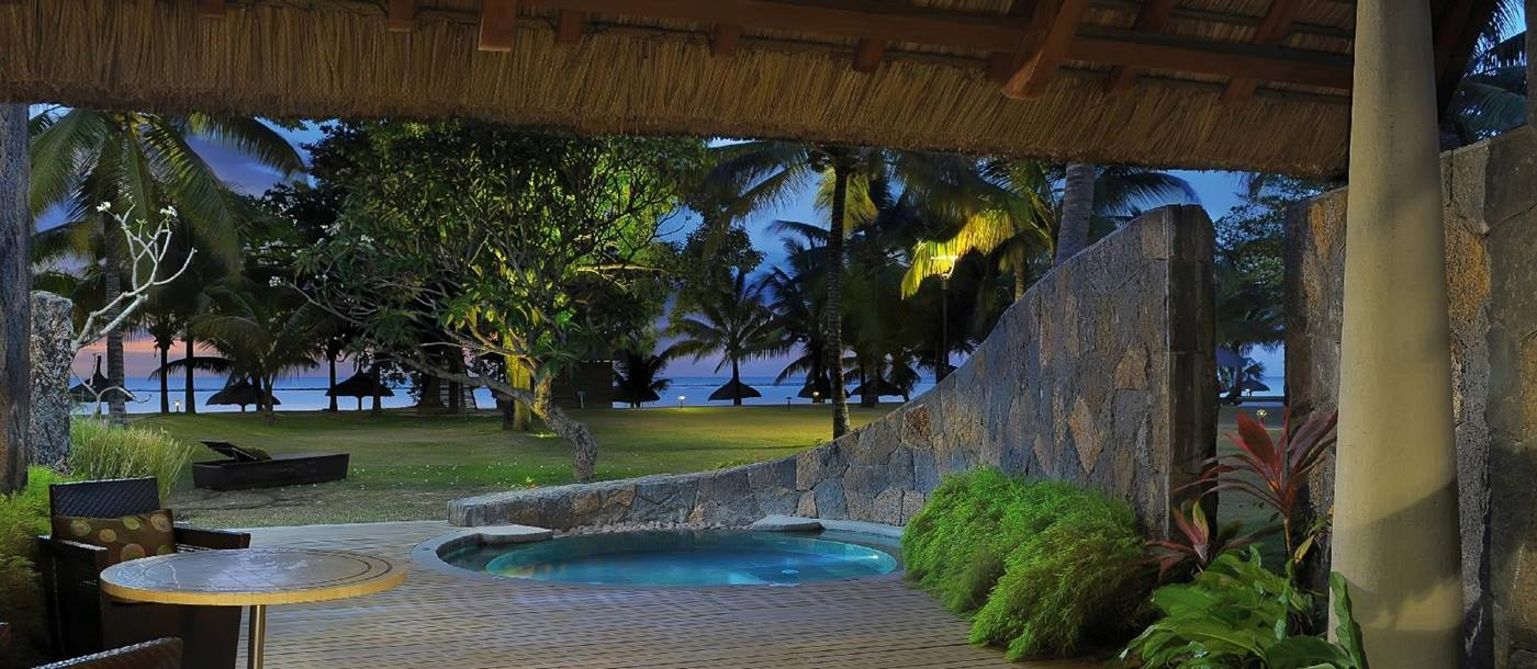 The swimming pool of a beachfront suite at Royal Palm, Mauritius
