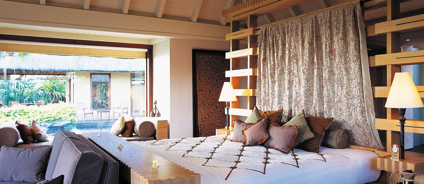 A double bedroom of a royal villa at The Oberoi Mauritius