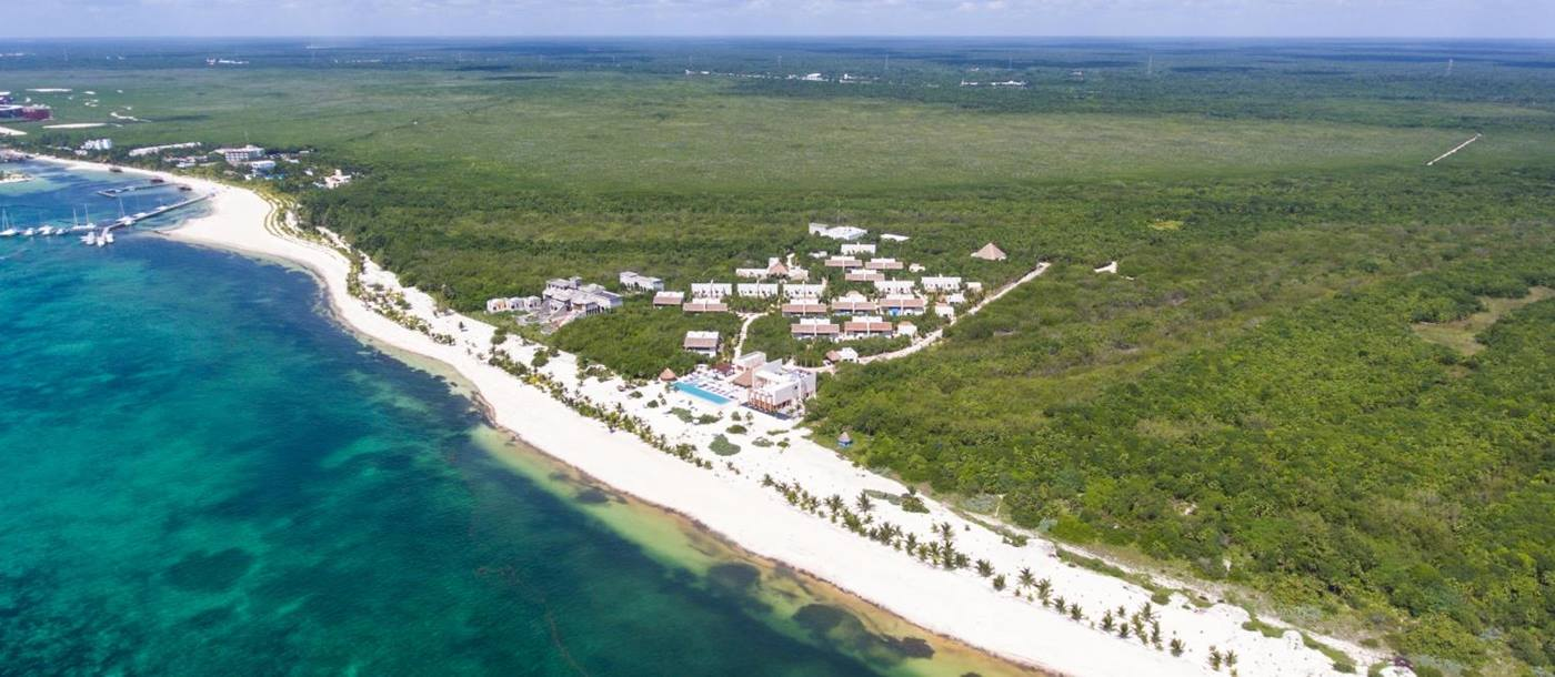 Aerial view of Chable Maroma in Mexico