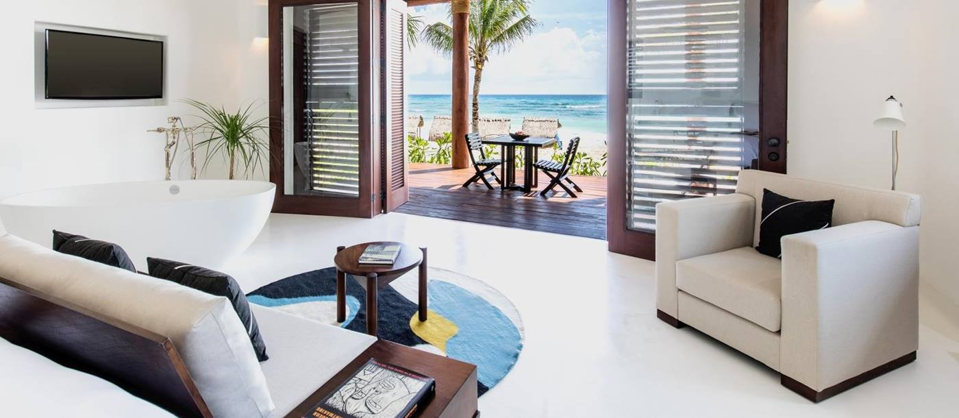 Beach suite at Hotel Esencia in Mexico