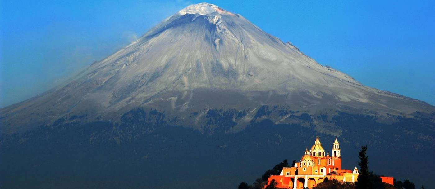 Volcano and church in San Miguele, Mexico