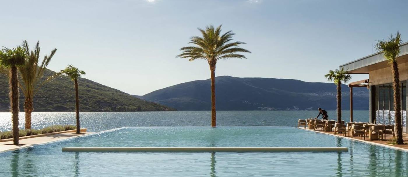 Infinity pool with Boka views at the One&Only Portonovi in Montenegro