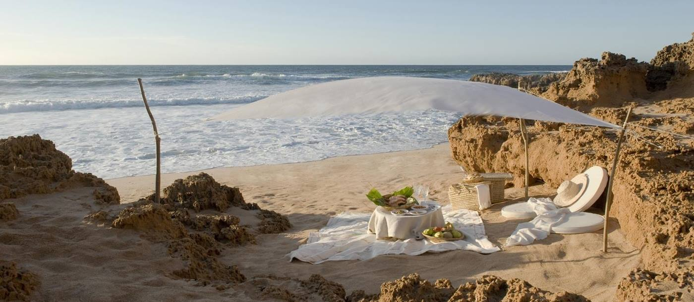 A beach side picnic at La Sultana Oualidia