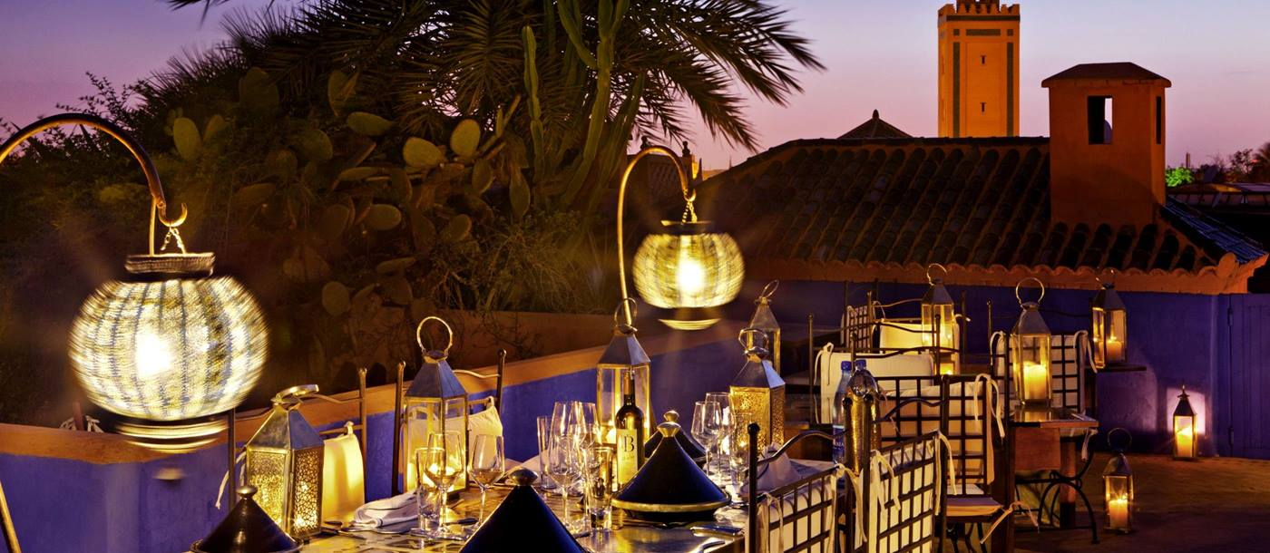 Outdoor dining at Riad Farnatchi
