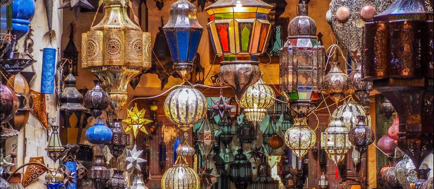 Elaborate lanterns on display in the Marrakech souq in Morocco