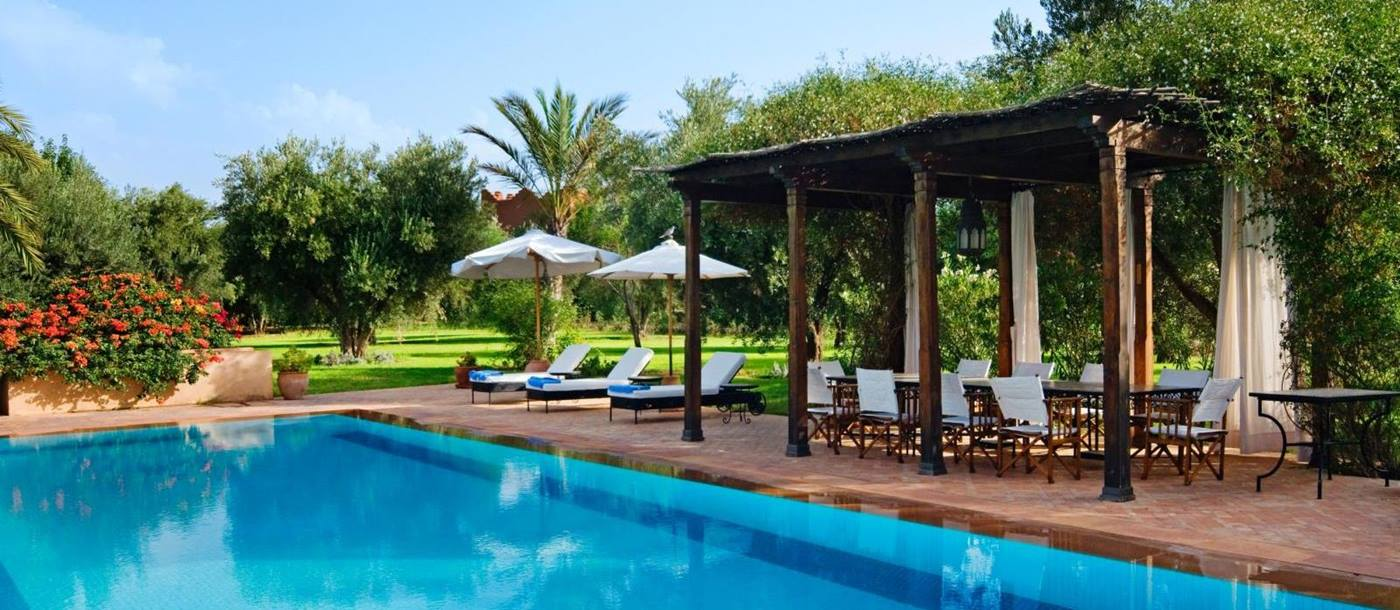 The pool and seating area at Villa Alexandra