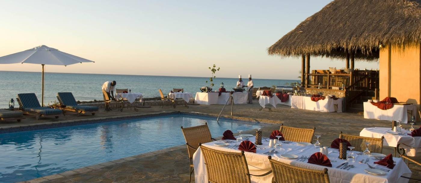 Poolside dinner at Anantara Medjumbe Island, Mozambique