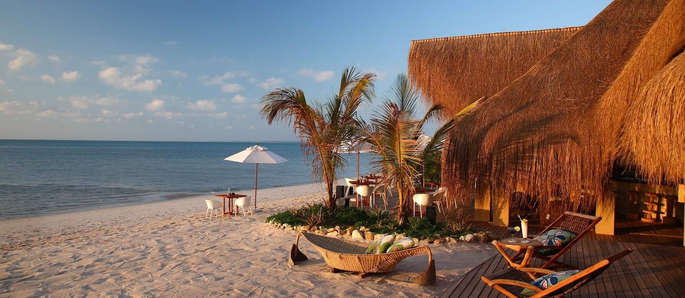 The beach and bar at Azura Benguerra, Mozambique