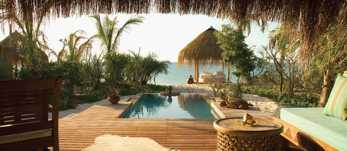 the plunge pool of a villa of Azura Benguerra, Mozambique
