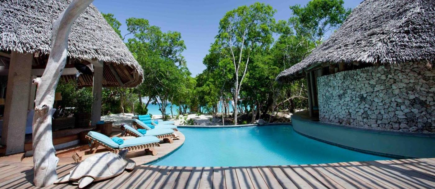 Decking around the pool at Villa Casamina in Mozambique