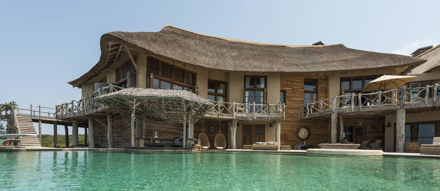 swimming pool in front of luxury villa Colina Verde in Mozambique, Africa