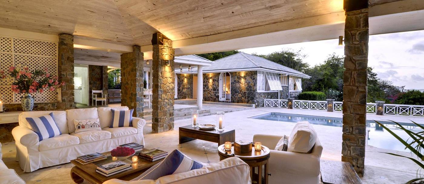 Covered seating area at Baliceaux, Mustique