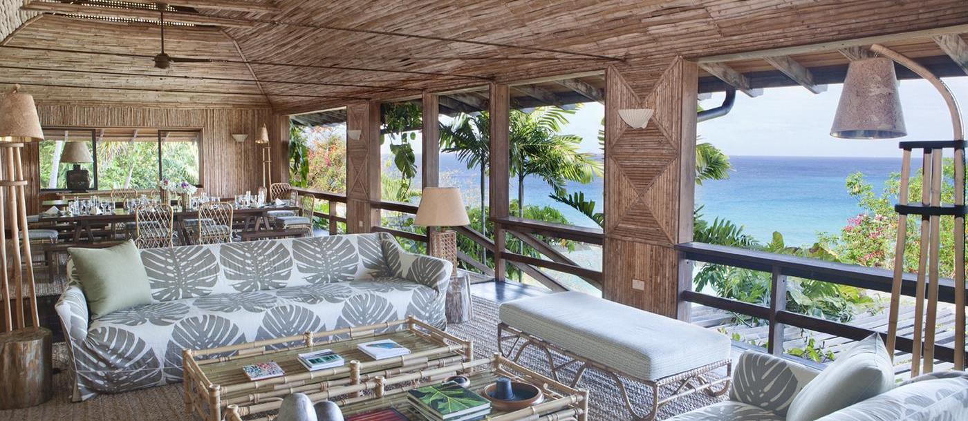 Living room and the view from the Beach House, Mustique