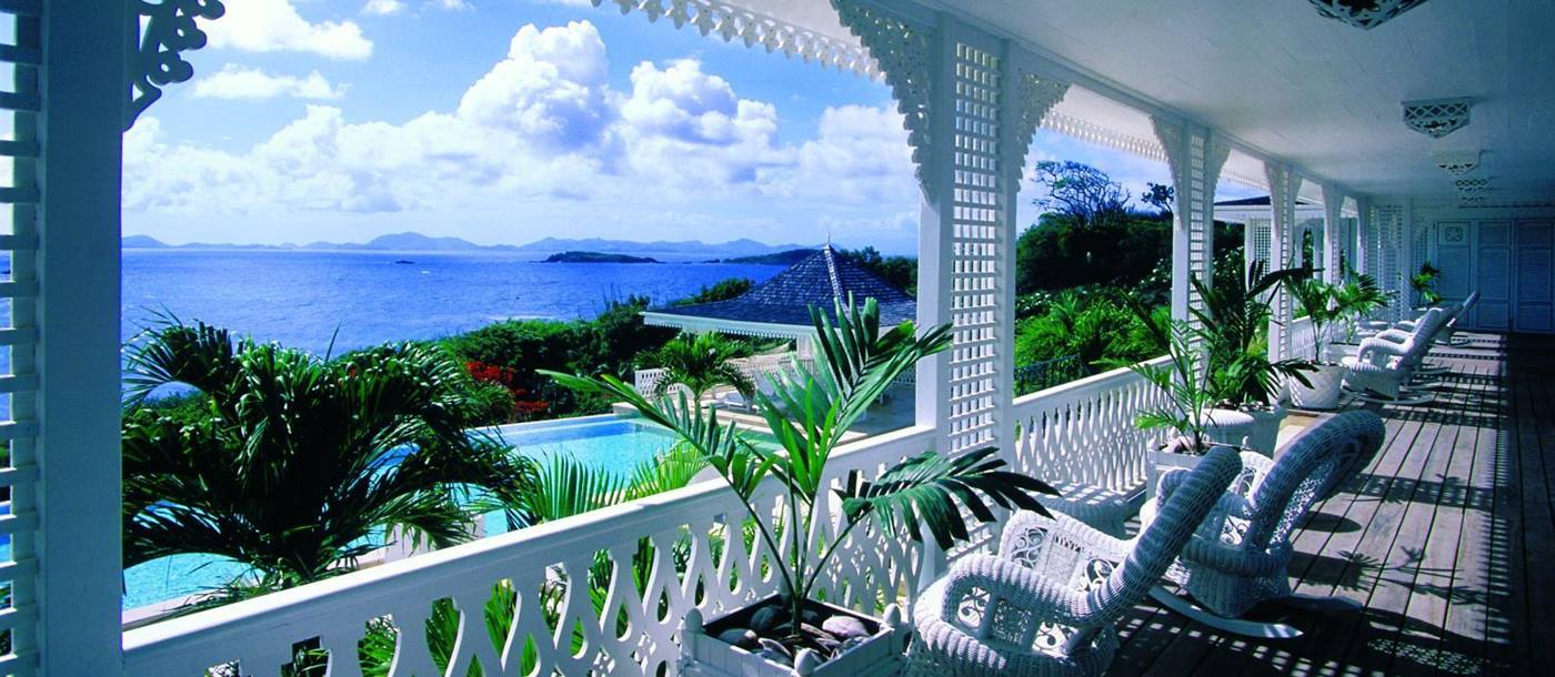 Sun loungers of Frangipiani, Mustique