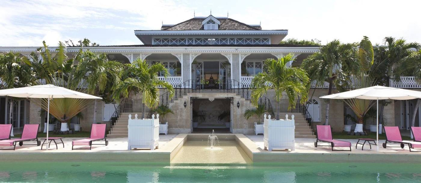 Swimming pool and exterior of Frangipiani, Mustique